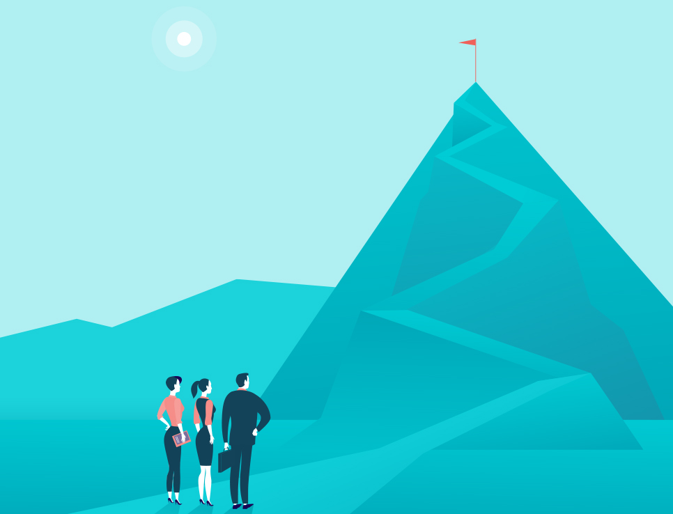 People standing in front of their challenges (a huge mountain with a path leading to the top)